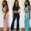 Two-piece Suits Sexy Sleeveless Short Paragraph Tops And High Waist Wide Leg Pants 2016 Summer Causal Sets