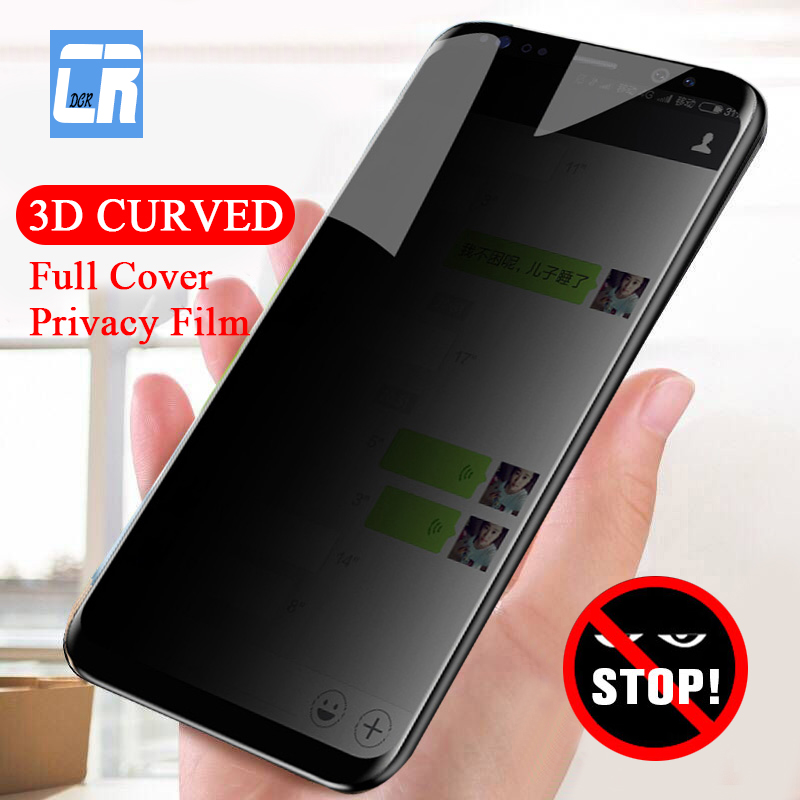 Tempered-Glass Screen-Protector Privacy-Film Anti-Spy Full-Cover Note 8 S9-Plus Samsung Galaxy