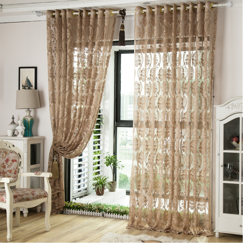 Curtains Living Room Bedroom Customize Ready Voile Jacquard Tulle Punching Hooks Curtain Bathroom Kitchen 1 Pc Set