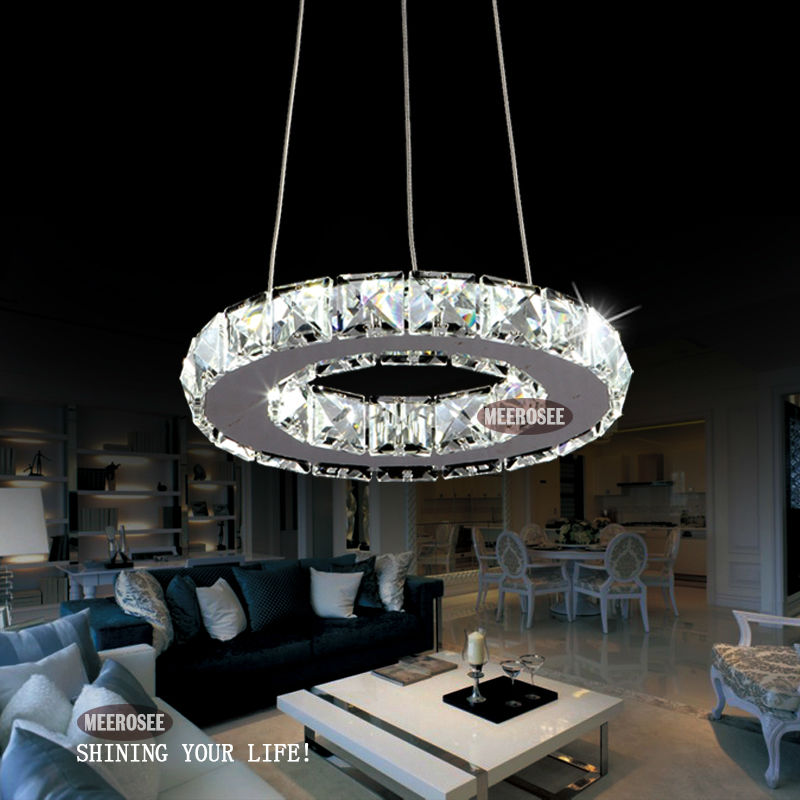 Modern led ring lamp light fixture crytsal office lighting led modern led ring lamp light fixture crytsal office lighting led chandeliers diameter 200mm cool white small round chandelier in chandeliers from lights mozeypictures Gallery