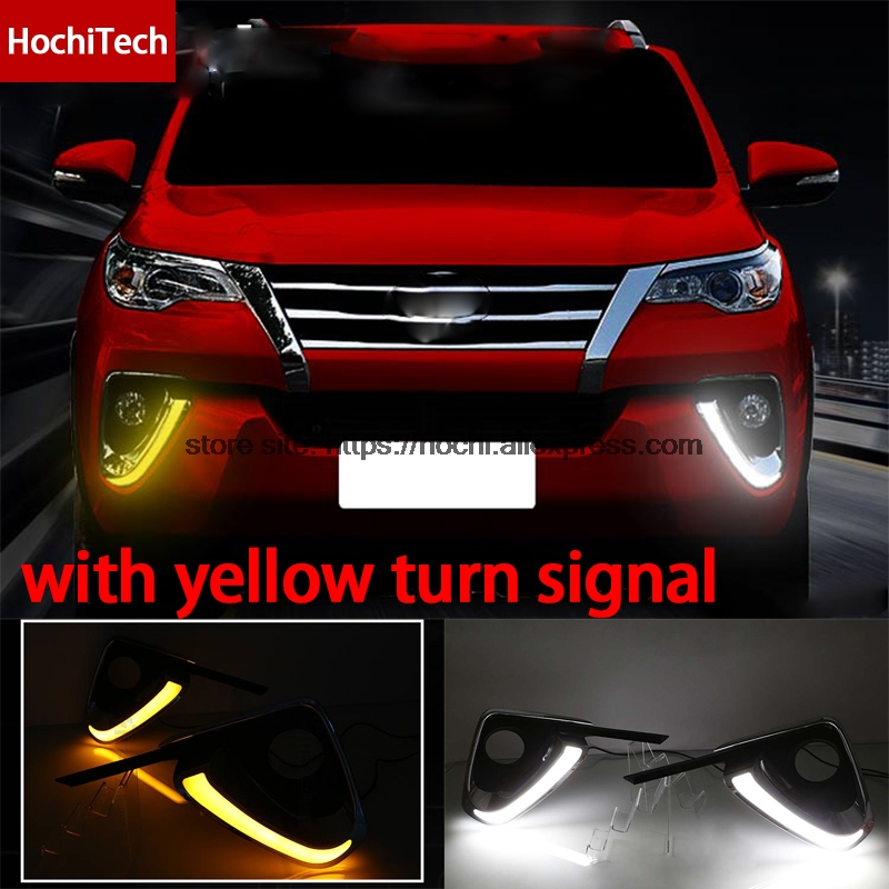High quality white yellow LED Car DRL Daytime running lights fog light yellow turn signal for toyota Fortuner 2016 2017 high quality 3 colors white yellow ice blue led car drl daytime running lights fog light with yellow turn signal for honda jade