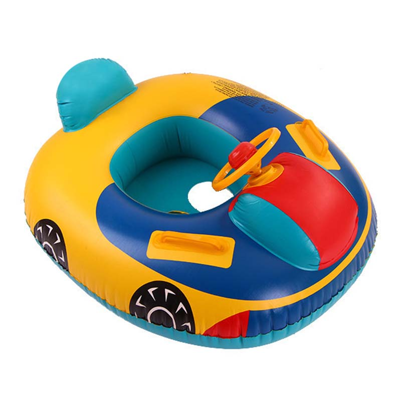 2019 Cartoon Baby Inflatable Swimming Boat Seat Summer Car Shape Children' Pool Buoy With Steering Wheel Float Rafts Water Toys