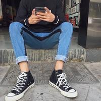 2017 Hiver Hommes De Mode de Style de Hong Kong Vente Chaude Armure Apporter Splice Denim Pantalon Occasionnel Maigre Crayon Bas Élastique Pantalon M-2XL