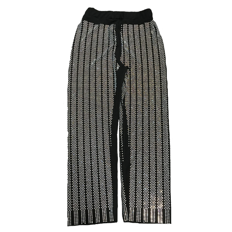 SuperAen Vertical Striped Hot Drilling Bling Pants Women Elastic Waist Pocket High Street Trousers 2018 Autumn