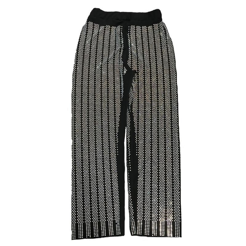 SuperAen pionowe paski Hot wiercenia Bling spodnie kobiety w pasie kieszeń High Street spodnie 2018 jesień długie spodnie w Spodnie i spodnie capri od Odzież damska na  Grupa 1