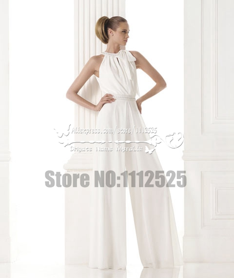 Awp 1063 Beach Wedding Pants Red Chiffon Wide Legs Jumpsuit In