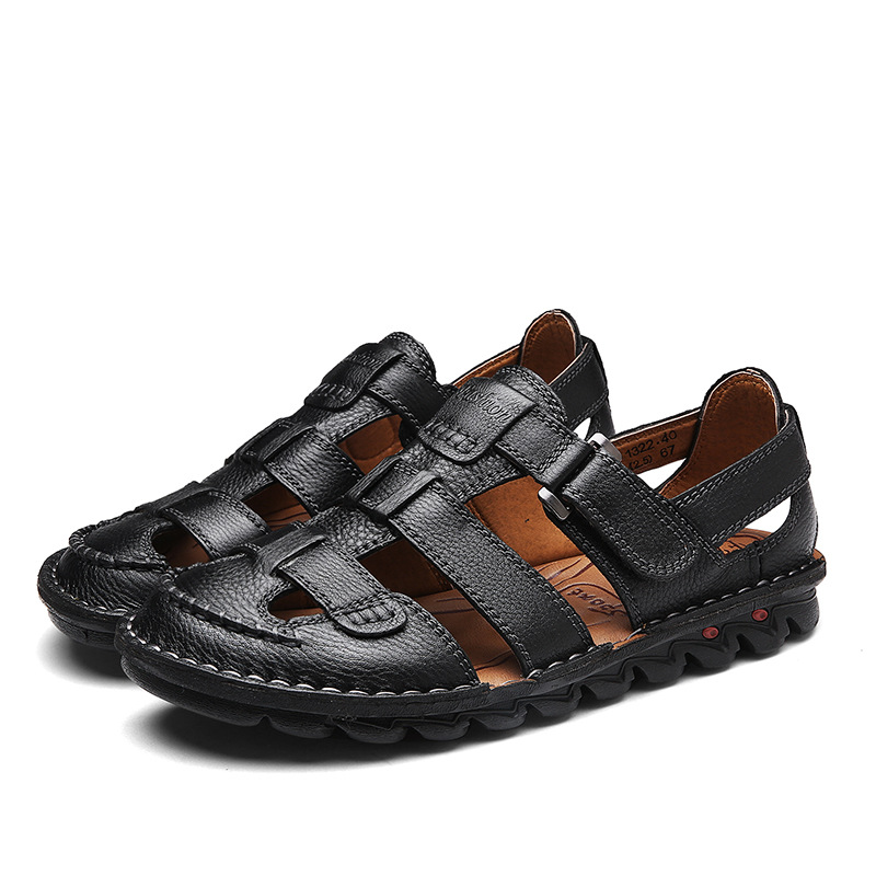 ZYYZYM Genuine Leather Men Sandals High quality Luxury Summer Sandals Men Fashion Sandalias Beach Shoes Soft Bottom Breathable in Men 39 s Sandals from Shoes