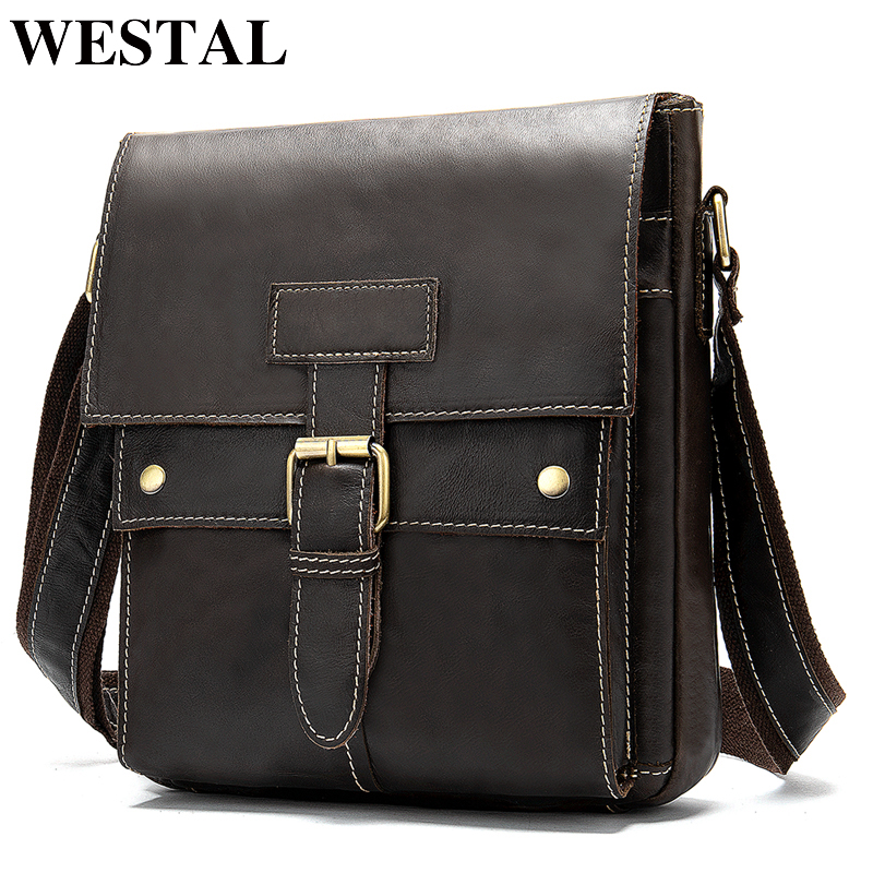 WESTAL Men's Shoulder Bag Genuine Leather Messenger Bag Men's Crossbody Bussiness Male Zipper Flap Bag For Men Handbags 9040