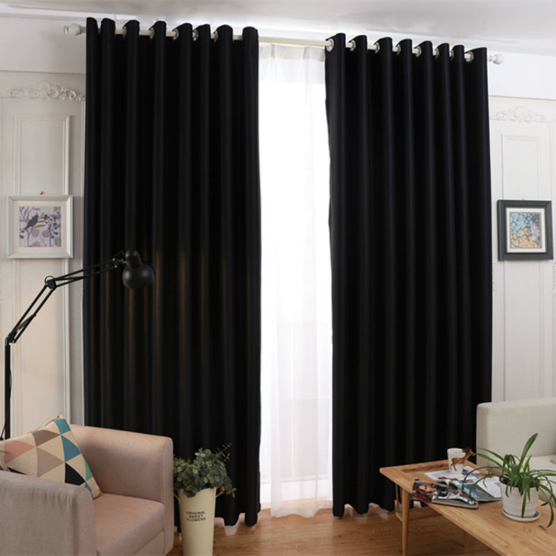 Perfect moderne simple noir rouge solide couleur ombre rideaux balcon chambre salon rideaux for Rideausalon moderne noir