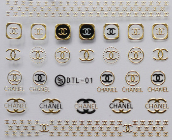 3 sheet 12 type Gold/Silver Nail Stickers Designs Gummed 3D Nail Art Stickers Decals Makep Art Decorations DTL01-12