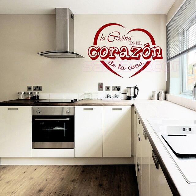 Vinyl Wandaufkleber Spanisch La Cocina Es Corazon Herz Wandtattoos ...
