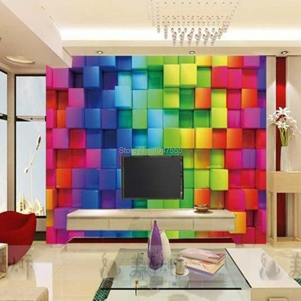 3d Wallpaper TV Background Wall Paper Color Plaid Squares