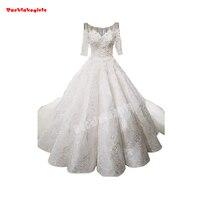 0088 Новый мусульманский невесты свадебное платье короткий рукав длинным шлейфом пушистый последние вечерние платья конструкции