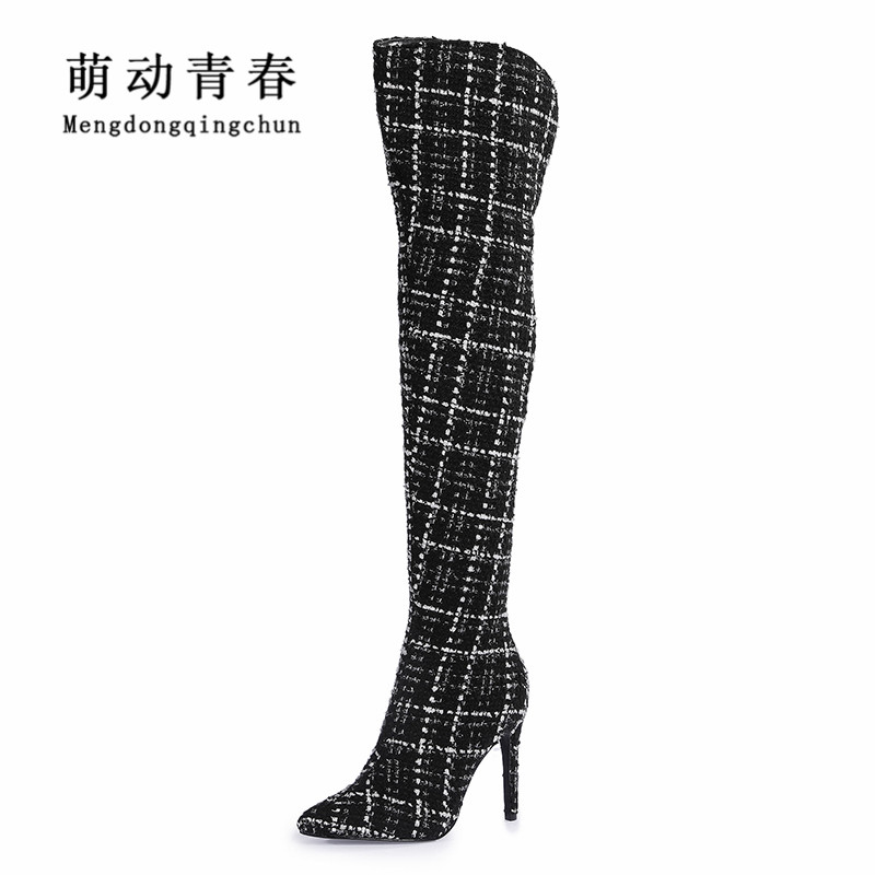 2018 Fashion Women Boots New Brand Pointed Toe Slip On Over The Knee High Heels Boots Sexy Ladies Plaid Autumn Winter Boots enmayer fashion over knee high boots women bukle high heels long boots sexy pointed toe slip on boots leather winter shoes
