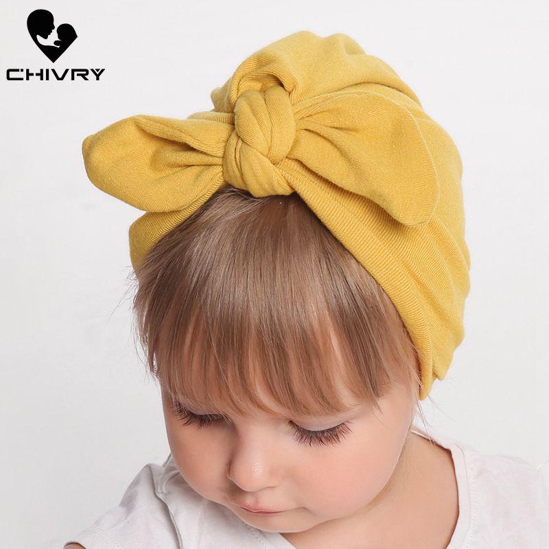 Baby Girl Headbands Infant Knotted Turban Rabbit Ears Hair Bands Soft Head wrap