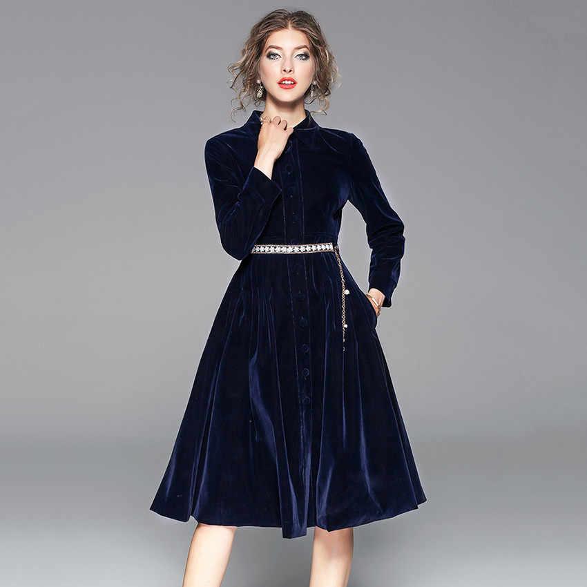 29e56757de8 ... 2018 осенние зимние платья женские винтажные бархатные платья  дизайнерские подиумные платья высокого качества Вечерние платья vestidos ...