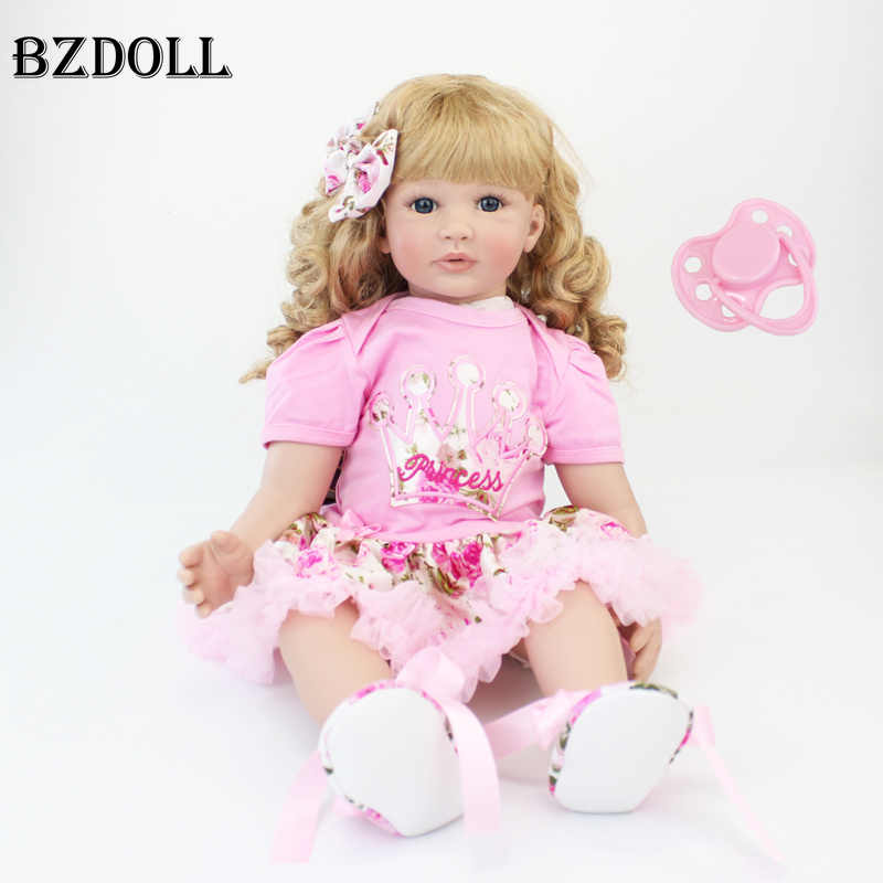 60cm Silicone Reborn Baby Doll Toys 24inch Vinyl Princess Toddler Babies Dolls Alive Birthday Gift Play House Toy Girls Bonecas