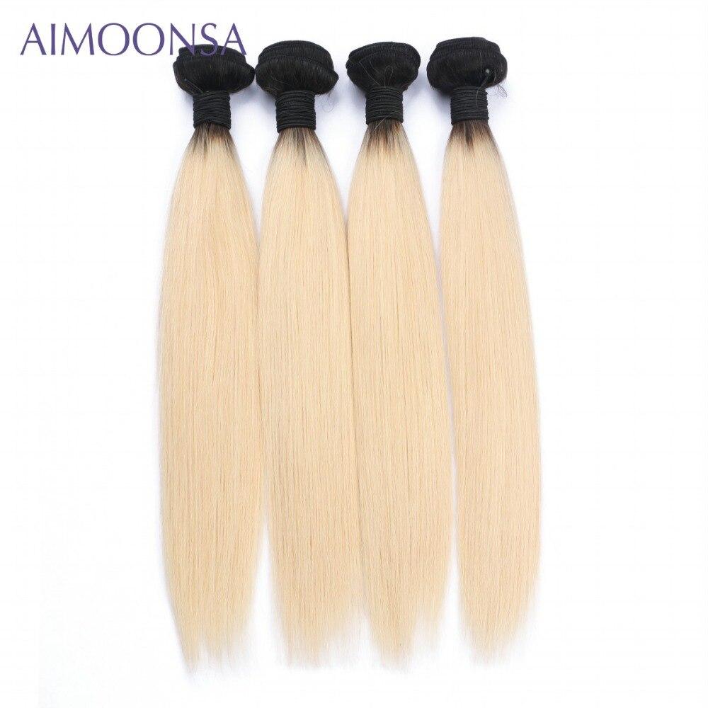 4 Bundles Brazilian Straight Human Hair Extension T1B 613 Non Remy Hair Weave For Women 10