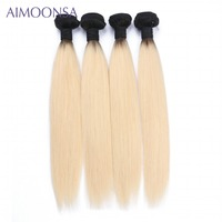 4 Bundles Brazilian Straight Human Hair Extension T1B/613 Non Remy Hair Weave For Women 10 26 Inch Free Shipping
