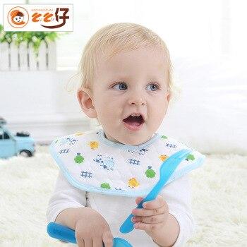 10PCS 24*24CM Cute Cartoon Cow Newborn Baby Bibs Waterproof Adjustable 100% Cotton Feeding Baby Saliva Towel For 0-24 Months