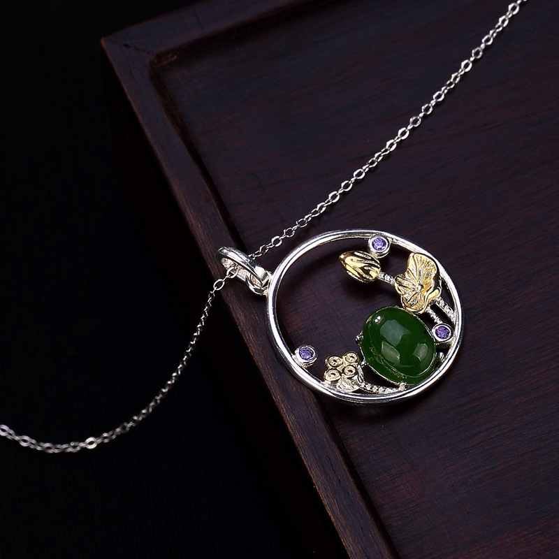 INALIS New Real 925 Sterling Silver Fine Jewelry Luxurious Emerald Jade with Lotus Pendant Necklace for Women Wedding Party
