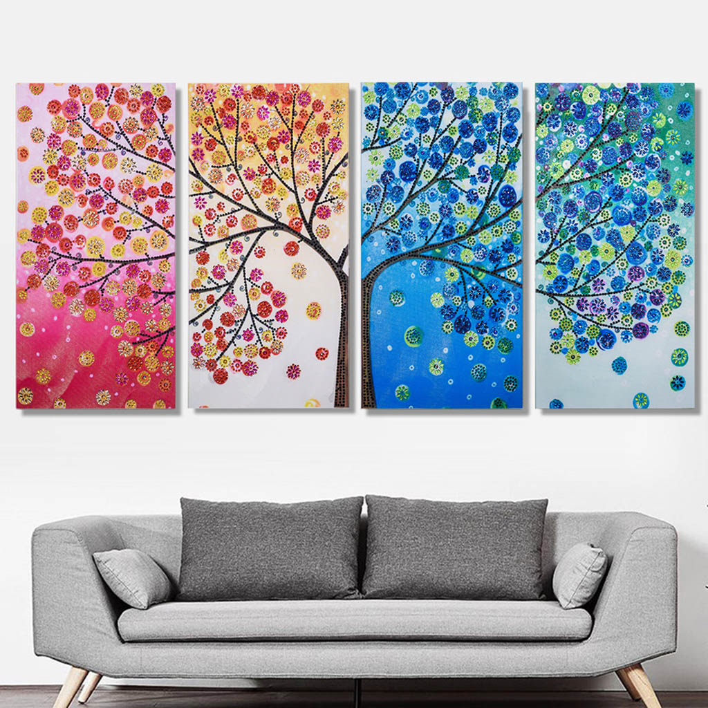 4pcs/set Special Shaped Diamond Embroidery Colorful Tree Full Rhinestone 5D DIY Diamond Painting Cross Stitch Diamond Home Decor4pcs/set Special Shaped Diamond Embroidery Colorful Tree Full Rhinestone 5D DIY Diamond Painting Cross Stitch Diamond Home Decor