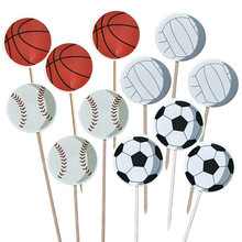 24/48pcs Boys softball Baseball Theme Cake Topper Happy Birthday Party Sports Cupcake Toppers With Sticks Decorate Baby Shower(China)