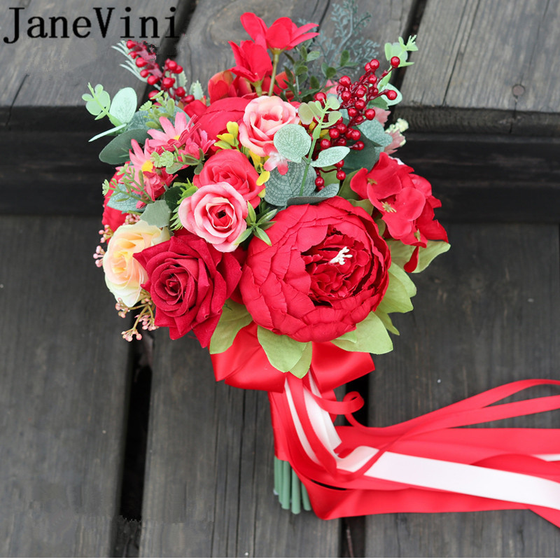 JaneVini Red Peony Rose Wedding Bride Bouquet Western Bridal Artificial Eucalyptus Bridesmaid Flowers Brooch Accessories