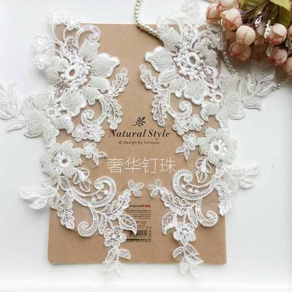 2 Pieces 3d Tiny Pearl Beaded Lace Applique Patch Motif Wedding