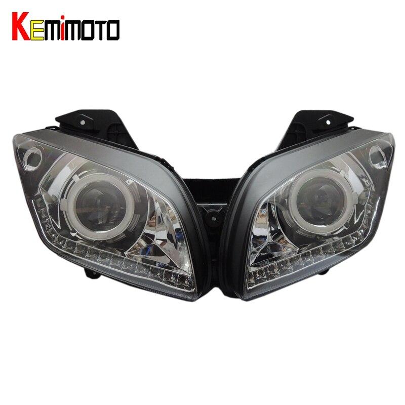 Kemimoto для Yamaha YZF r15 HID CCFL Ангел глаз проектор Адаптивная модель r15 2012 2013 2014 2015 2016 фара с светодиодные полосы