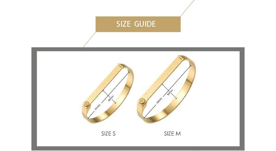 Enfashion Personalized Engraved Name Bracelet Gold Color Bar Screw Bangle Lovers Bracelets For Women Men Cuff Bracelets Bangles 10