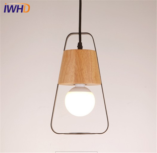 цены на IWHD Simple Japanese Iron Wood Droplight Modern LED Pendant Light Fixtures For Dining Room Hanging Lamp Home Indoor Lighting