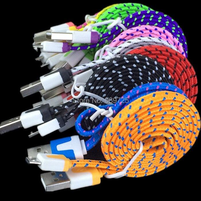 imágenes para 100 unids/lote 1 M Colorido Fideos Plana v8 cable de nylon Paquetes Accesorios Para samsung para htc para blackberry