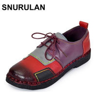 SNURULAN Fashion Womens Handmade Shoes Genuine Leather Flat Lacing Mother Shoes Woman