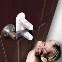 New Door Lever Lock Safety Child Proof Doors 3M Adhesive Handle Baby Compatible with Handles
