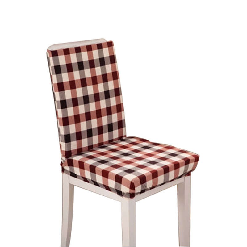1Pc Coffee Grid Super Fit Stretch Short Dining Room Chair Cover Removable Slipcover Home Party Decor