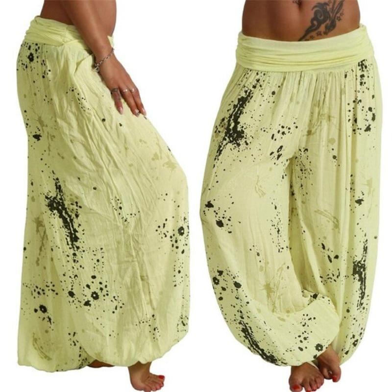 Women Harajuku Sarouel Wide Leg Pants Boho Harem Pants Chic Splatter Print 2019 Summer Female Sarouel Pantalons