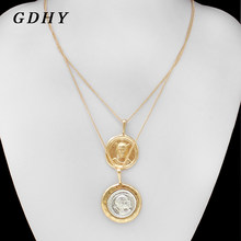 GDHY Retro Multi layer Necklace Gold Silver Circular Coin Virgin Choker Virgin Mary Necklace For Women Bohemian Collar Jewelry(China)