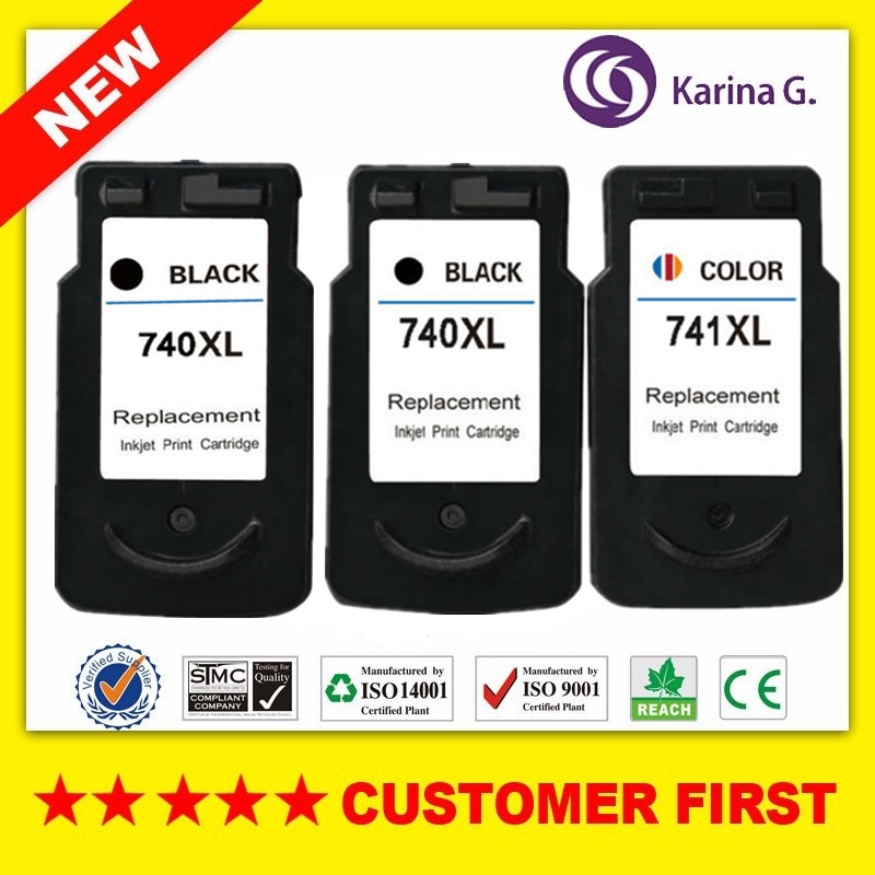 цена 3 Pcs Ink Cartridges For Canon PG-740 XL PG-740XL PG 740 PG740 Pixma MX517 MX437 MX377 MG4170 MG3170 MG2170 Inkjet Printer