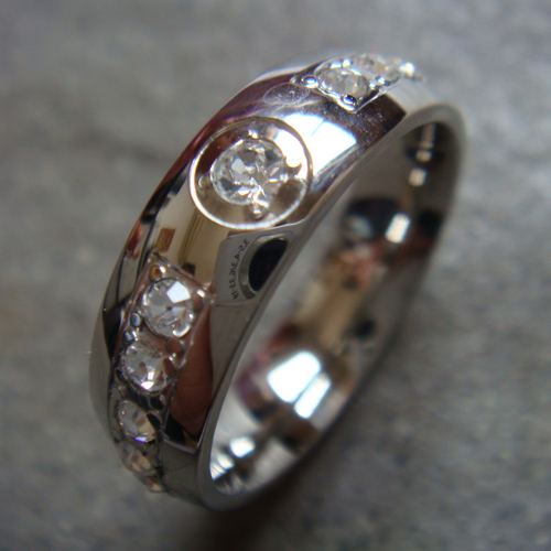 Hot! 1PC Fashion Silver Plated Stainless Steel CZ Crystal Finger Ring US SIZE 7, 8, 9, 10, 11