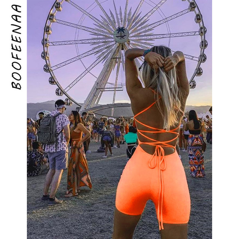BOOFEENAA Sexy Open Back Strappy Lace Up Bodycon Romper Shorts Neon Green Orange Club One Piece Outfits Women Jumpsuit C87-I67