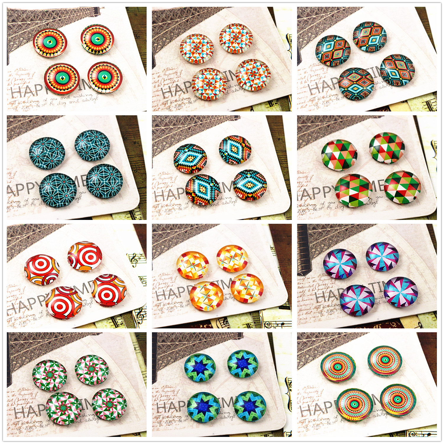 Hot Sale 20pcs 12mm Handmade Photo Glass Cabochons  (Color Pattern Series)