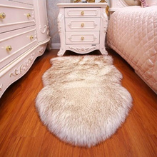 Artificial Wool Irregular Rug Long Hair Faux Fur Bedroom Carpets Living Room Floor Mats Soft Plush Cushion Pad Home Decoration