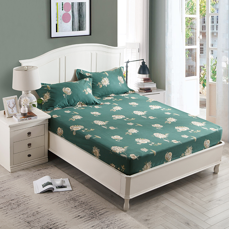Quilted Cotton Bed Sheet Fitted Sheet With Elastic Band Bed Set Twin Queen King Sze Bedlinen 160cmx200cm Size Mattress Cover Furniture