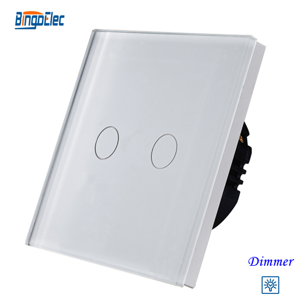 Bingoelec 2gang 1way dimmer light switch,white glass panel  touch dimmer switch ,fan controller switch glass 1 channel touch panel led dimmer controller black dc 12 24v
