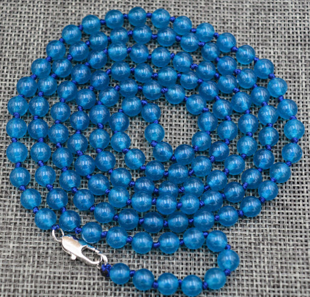 Charming 6 mm Ink-blue colour Apatite beads Necklace 36 ""