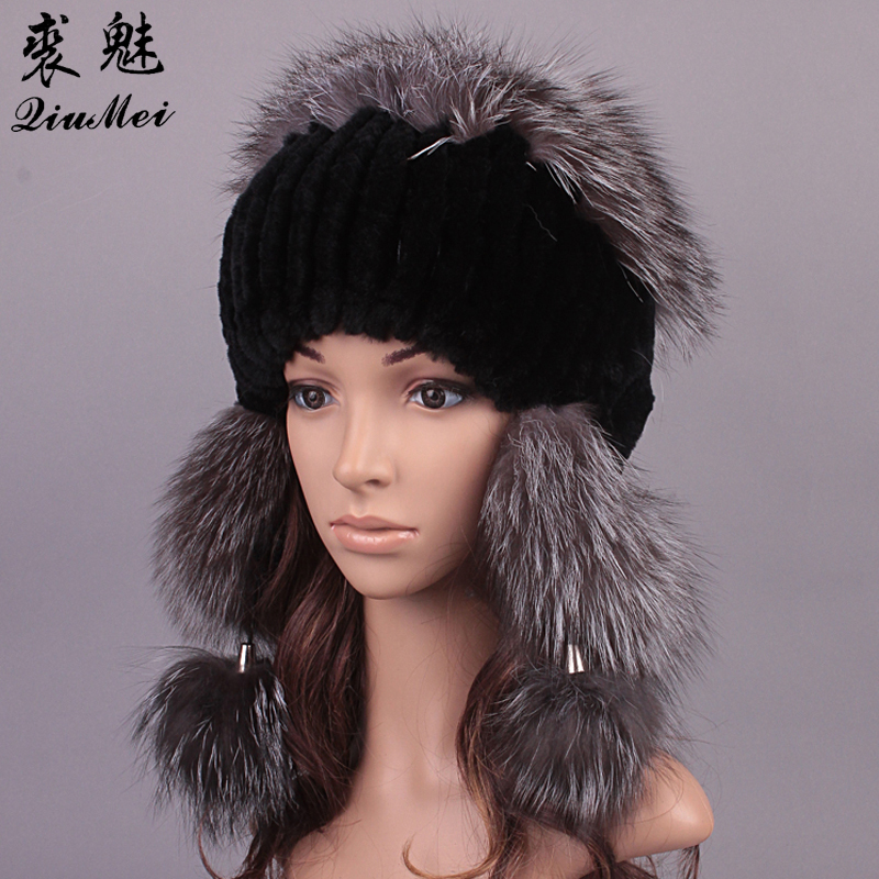 Winter Bomber Hats Women Luxury Ball Design For Men Real Fox Fur Caps Female Beanie Fashion