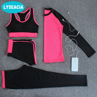 4 In 1 Sport Costumes For Women Yoga Jogging Suit Sports Bra Long Sleeve T Shirt