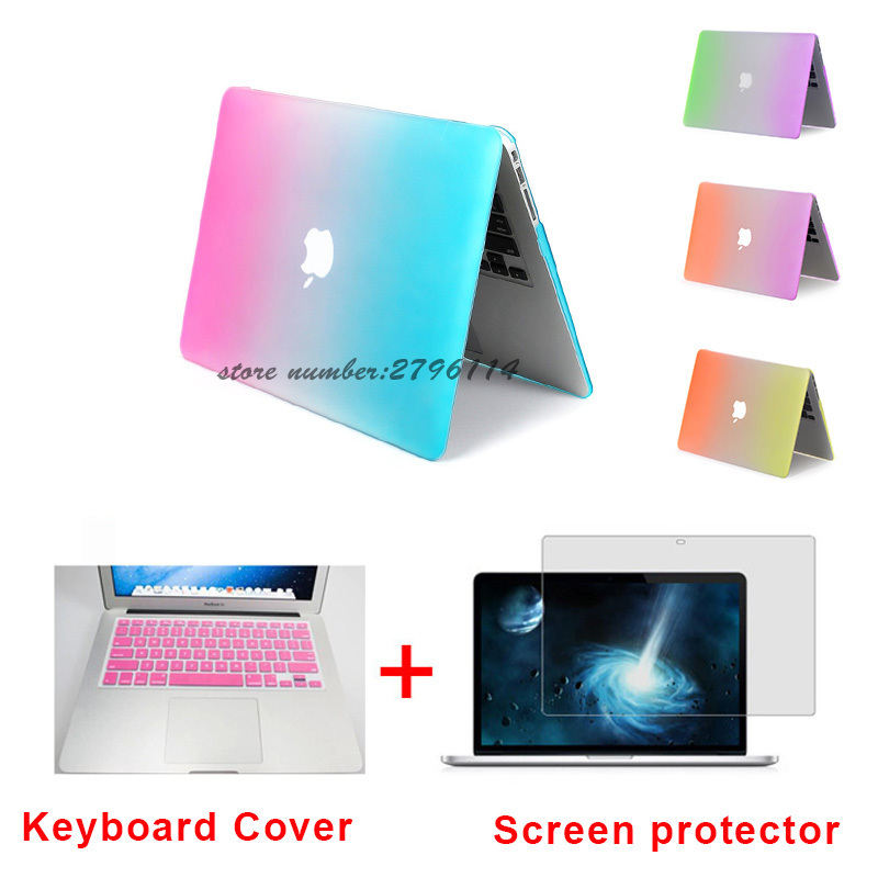 Fashion Matte Rainbow Hard Protector Case For MacBook Air 11 Pro 13 / 15 inch with Retina + Pink Keyboard Cover Free Shipping