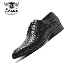 Men's Dress Shoes Genuine Leather Weave Shoes Men 2019 New Luxury Brand England Fashion Business Lace Up Shoes EUR Size 38-44